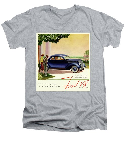 1937 Ford Car Ad Men's V-Neck T-Shirt