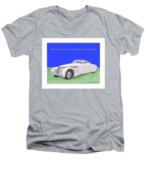 1938 Hispano Suiza H6c Saoutchik Xenia Coupe Men's V-Neck T-Shirt by Jack Pumphrey
