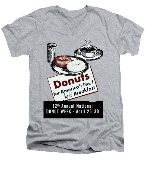 1940 Donut Poster Men's V-Neck T-Shirt