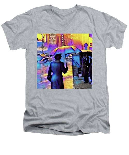 1940s Times Square Rain IIl Men's V-Neck T-Shirt