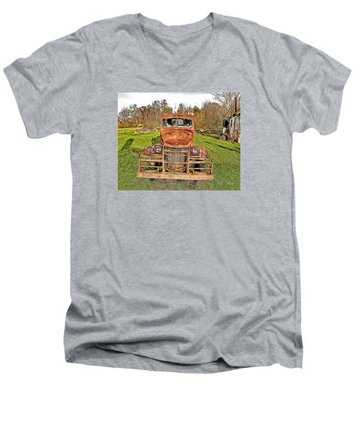 Men's V-Neck T-Shirt featuring the photograph 1941 Dodge Truck 3 by Mark Allen