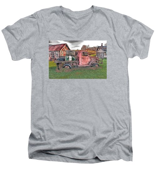 Men's V-Neck T-Shirt featuring the photograph 1941 Dodge Truck by Mark Allen
