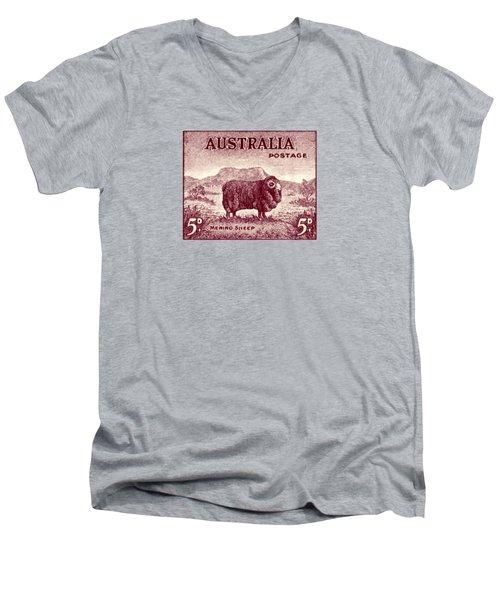 1946 Australian Merino Sheep Stamp Men's V-Neck T-Shirt