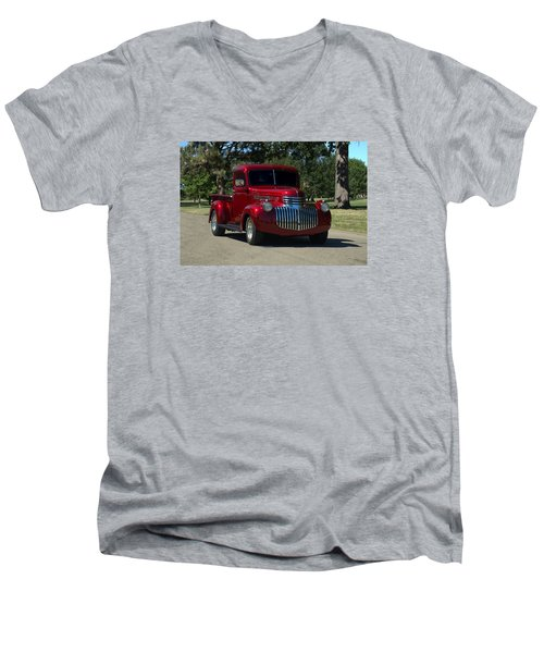 Men's V-Neck T-Shirt featuring the photograph 1946 Chevrolet Pickup Truck by Tim McCullough