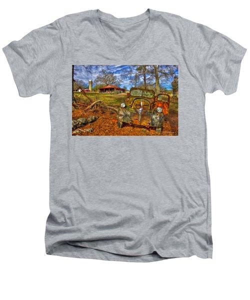 1947 Dodge Dump Truck Country Scene Art Men's V-Neck T-Shirt by Reid Callaway