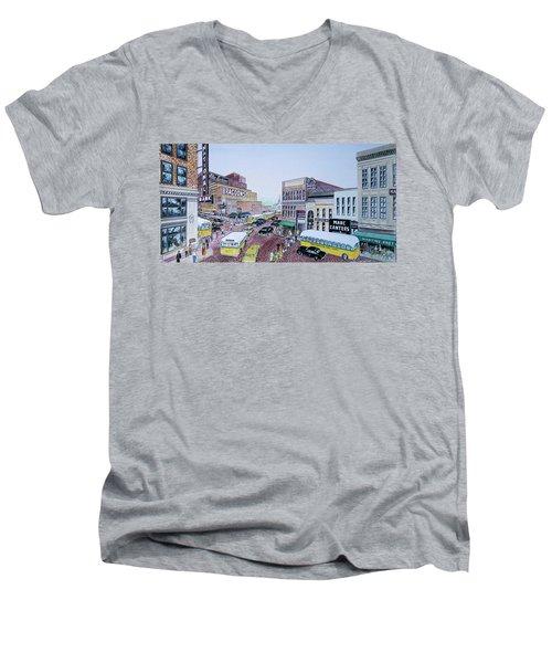 1948 Rush Hour Portsmouth Ohio Men's V-Neck T-Shirt by Frank Hunter