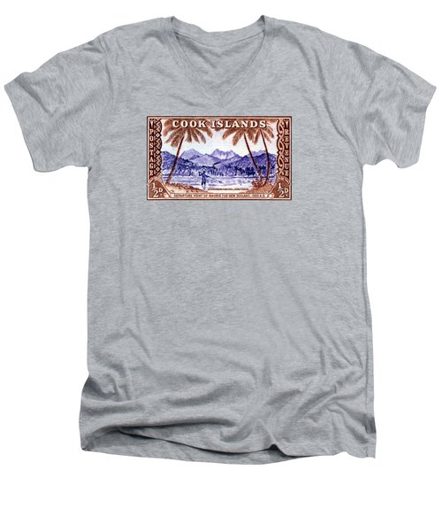 Men's V-Neck T-Shirt featuring the painting 1949 Native Fishing, Cook Islands by Historic Image