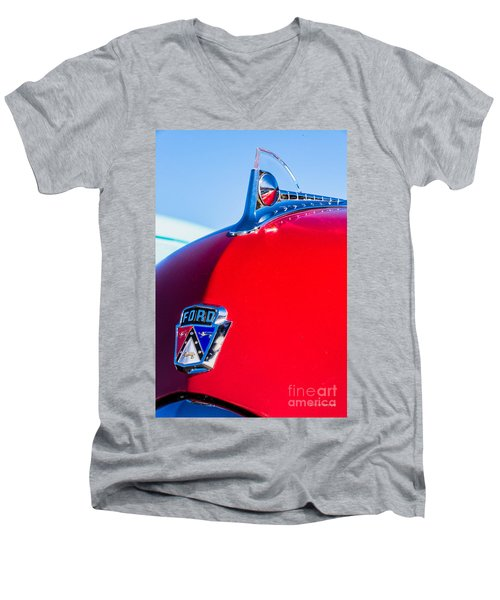 Men's V-Neck T-Shirt featuring the photograph 1950 Ford Hood Ornament by Aloha Art