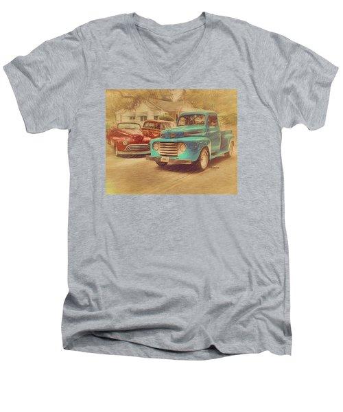 1950 Ford Truck Classic Cars - Homecoming Men's V-Neck T-Shirt by Rebecca Korpita