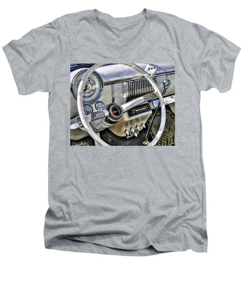 1950 White Chevy Coupe Men's V-Neck T-Shirt by Trey Foerster
