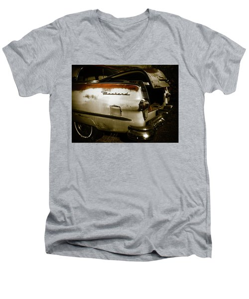 Men's V-Neck T-Shirt featuring the photograph 1950s Packard Trunk by Marilyn Hunt