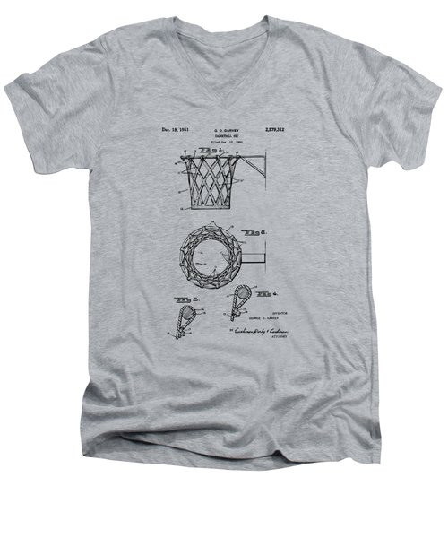 1951 Basketball Net Patent Artwork - Vintage Men's V-Neck T-Shirt by Nikki Marie Smith