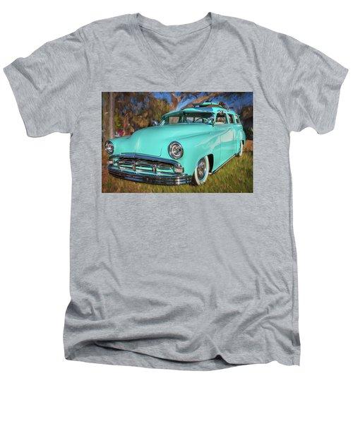 1951 Plymouth Suburban 2 Door Station Wagon 001 Men's V-Neck T-Shirt by Rich Franco