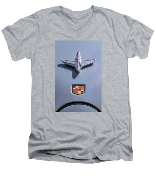 Men's V-Neck T-Shirt featuring the photograph 1951 Studebaker Champion Hood Ornament by Betty Denise