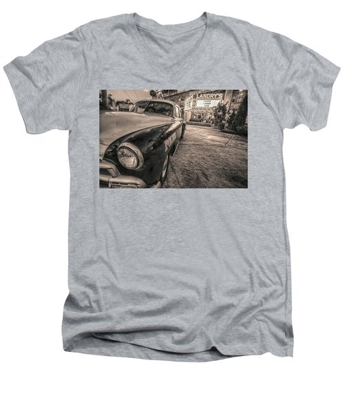 Men's V-Neck T-Shirt featuring the tapestry - textile 1952 Chevy Black And White by Kathy Adams Clark