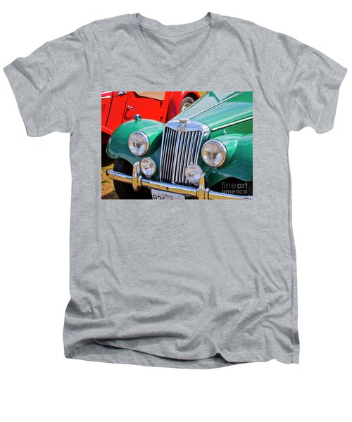 Men's V-Neck T-Shirt featuring the photograph 1954 Mg Tf Sports Car by Chris Dutton