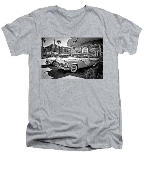 1955 Fairlane Crown Victoria Bw Men's V-Neck T-Shirt