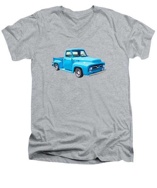 1955 Ford F100 Blue Pickup Truck Canvas Men's V-Neck T-Shirt by Keith Webber Jr