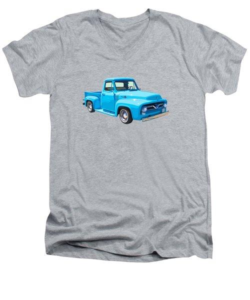 1955 Ford F100 Blue Pickup Truck Canvas Men's V-Neck T-Shirt by Keith Webber Jr