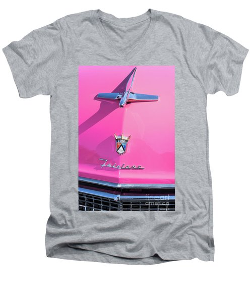 1955 Pink Ford Fairlane Hood Ornament Men's V-Neck T-Shirt