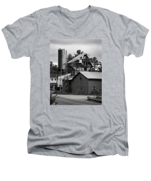 Men's V-Neck T-Shirt featuring the photograph 1955 Redi-mix Cement Plant by Betty Denise