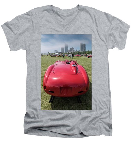 Men's V-Neck T-Shirt featuring the photograph 1956 Ferrari 290mm - 2 by Randy Scherkenbach