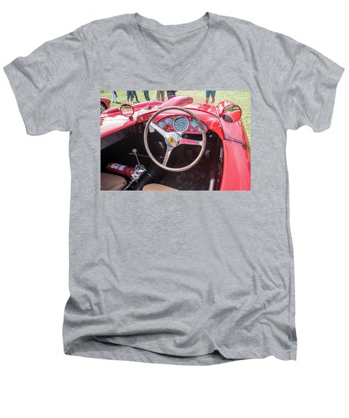 Men's V-Neck T-Shirt featuring the photograph 1956 Ferrari 290mm - 4 by Randy Scherkenbach