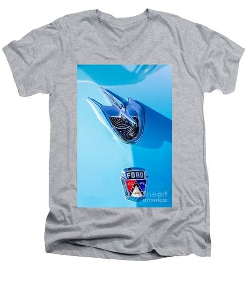Men's V-Neck T-Shirt featuring the photograph 1956 Ford Hood Ornament by Aloha Art