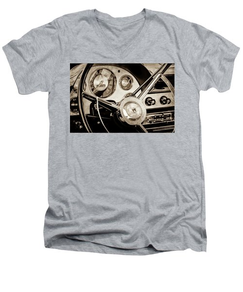 Men's V-Neck T-Shirt featuring the photograph 1956 Ford Victoria Steering Wheel -0461s by Jill Reger