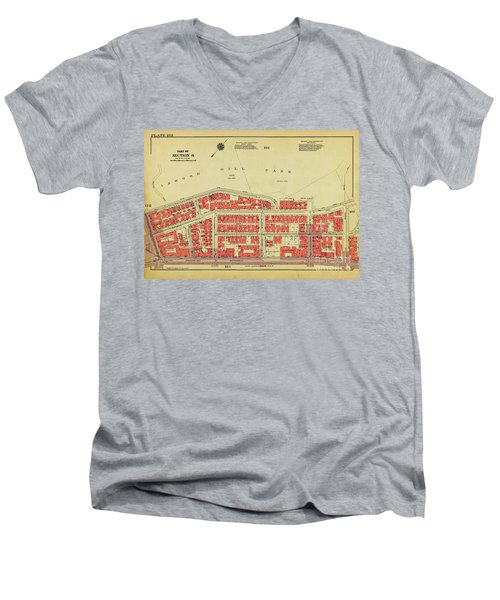 Men's V-Neck T-Shirt featuring the photograph 1956 Inwood Map  by Cole Thompson
