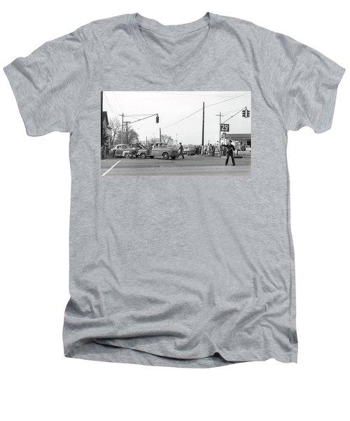 1957 Car Accident Men's V-Neck T-Shirt by Paul Seymour