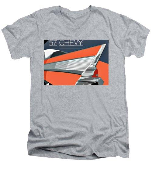 1957 Chevy Art Design By John Foster Dyess Men's V-Neck T-Shirt