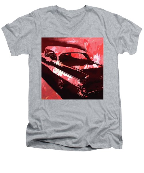 1957 Pontiac Super Chief Red Pop Men's V-Neck T-Shirt