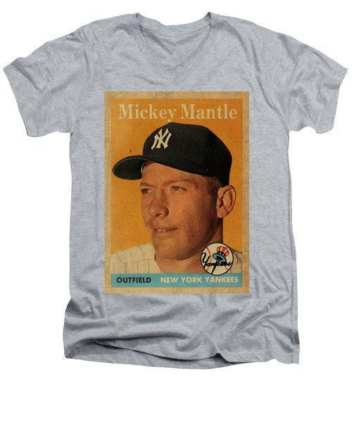1958 Topps Baseball Mickey Mantle Card Vintage Poster Men's V-Neck T-Shirt by Design Turnpike