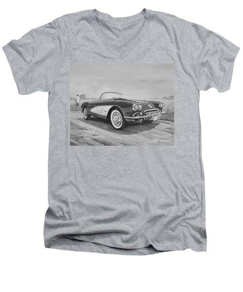 1959 Chevrolet Corvette Cabriolet In Black And White Men's V-Neck T-Shirt