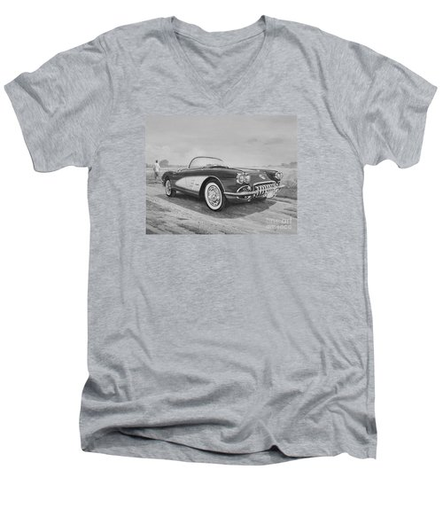1959 Chevrolet Corvette Cabriolet In Black And White Men's V-Neck T-Shirt