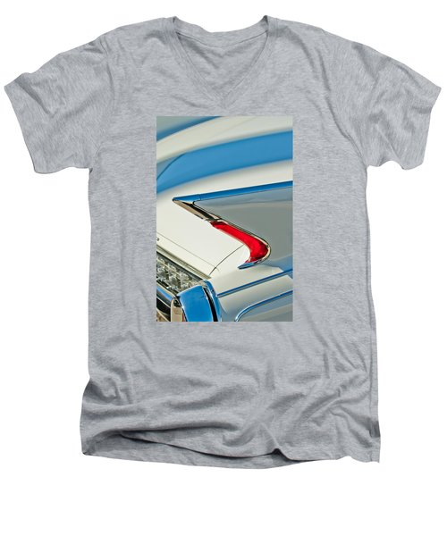 Men's V-Neck T-Shirt featuring the photograph 1960 Cadillac Eldorado Biarritz Convertible Taillight by Jill Reger