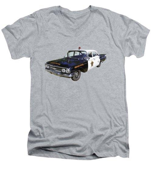1960 Chevrolet Biscayne Police Car Men's V-Neck T-Shirt