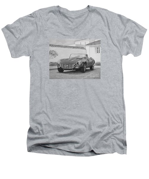 1961 Jaguar Xke Cabriolet In Black And White Men's V-Neck T-Shirt