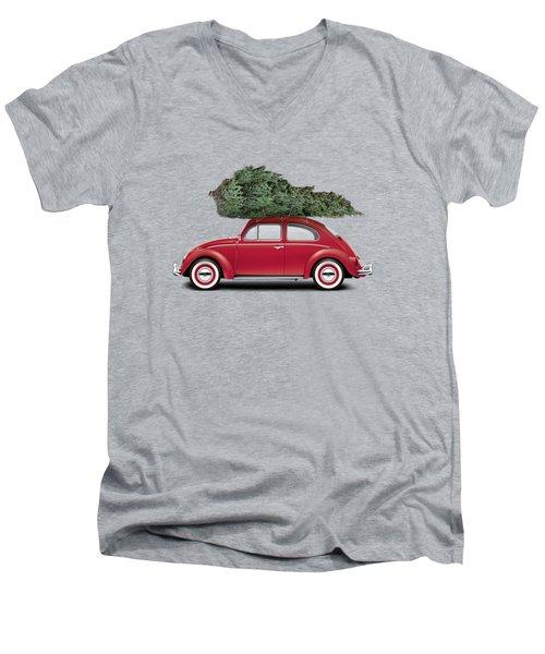 1962 Volkswagen Deluxe Sedan - Ruby Red W/ Christmas Tree Men's V-Neck T-Shirt by Ed Jackson