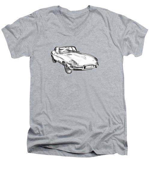 1964 Jaguar Xke Antique Sportscar Illustration Men's V-Neck T-Shirt by Keith Webber Jr