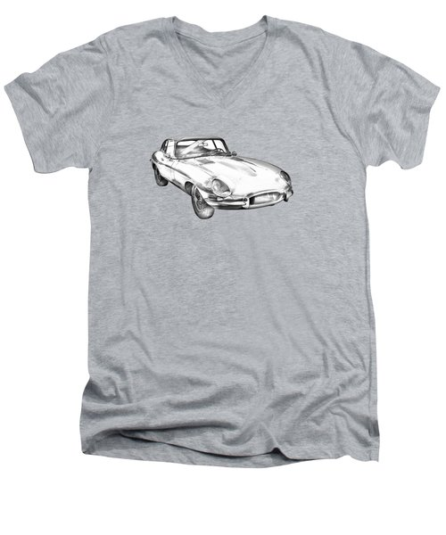 1964 Jaguar Xke Antique Sportscar Illustration Men's V-Neck T-Shirt