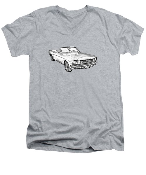 1965 Red Ford Mustang Convertible Drawing Men's V-Neck T-Shirt