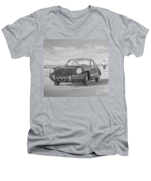 1967 Porsche 912 In Black And White Men's V-Neck T-Shirt