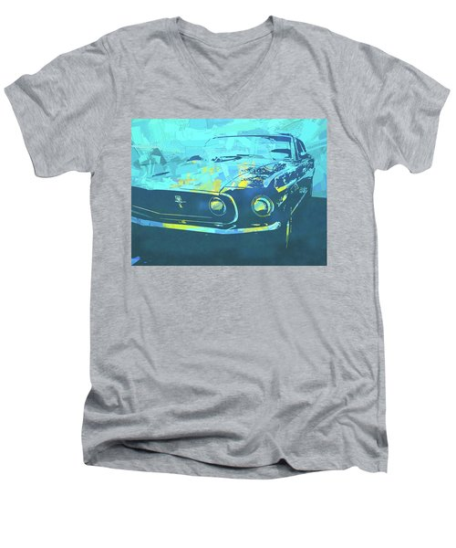 1969 Mustang Mach 1 Blue Pop Men's V-Neck T-Shirt