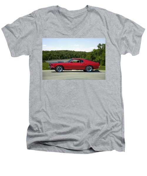 Men's V-Neck T-Shirt featuring the photograph 1969 Mustang Mach 1 by Tim McCullough