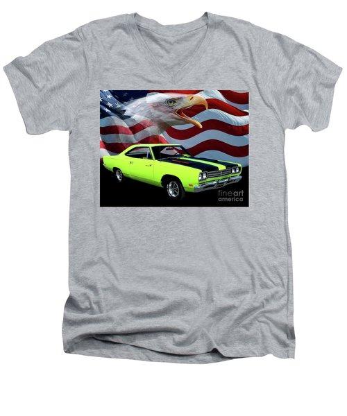 1969 Plymouth Road Runner Tribute Men's V-Neck T-Shirt by Peter Piatt