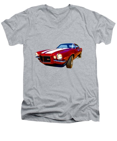 1971 Z28 Camaro Hdr Vivid Remembrance Men's V-Neck T-Shirt