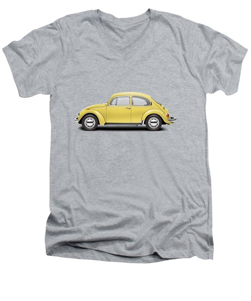 1972 Volkswagen Beetle - Saturn Yellow Men's V-Neck T-Shirt by Ed Jackson
