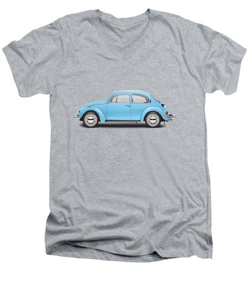 1972 Volkswagen Super Beetle - Marina Blue Men's V-Neck T-Shirt by Ed Jackson